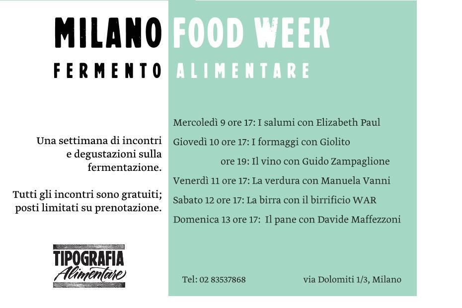 Tipografia Alimentare Milano Food City calendario
